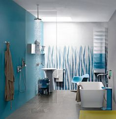 Great Colour Trend in Bathroom Wallcovering - #bath, #interior, #decor, #wallcoverings, #walls, #walldecor