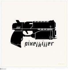 Pixelkiller logo (Online gaming) #pixelkiller #gun #resinism #gaming #logo #online
