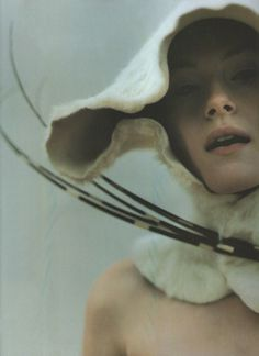 Cream fur and quill hat by Philip Treacy shot by Francois Rotger for The Face (Sep 97).