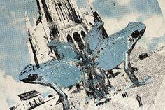 Mathieu Bories Portfolio #mathieu #sky #print #bories #illustration #screen #blue #cathedral #frog