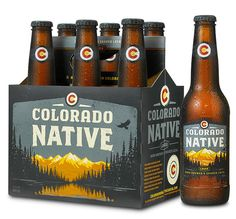 Colorado Native Lager - Great colours, easily adaptable to represent different ale colours etc. #lake #beer #mountain #box