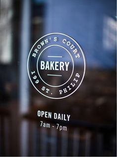 Brown's Court Bakery Window Graphics | Nudge #design #typography #branding #stamp #bakery