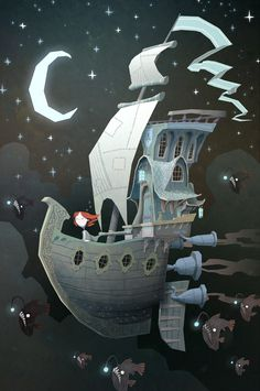 Fly By Night - Ken Wong #fantasy #sky #night #illustration #ship #boat #magic #moon