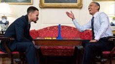 Stephen Curry and Barack Obama