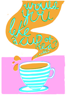 Property of Farley Vaughan #pink #screenprint #illustration #tea #coffee #blue