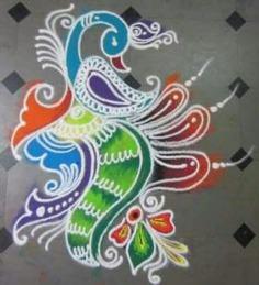 Elegant peacock rangoli