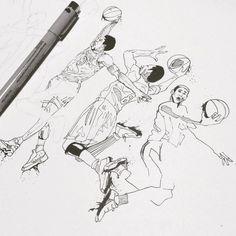 Kobe Bryant - Pen & Ink WIP by Timothy McAuliffe.  Gold Van™