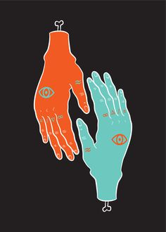 HÄNDER : Sara Andreasson #print #orange #symmetry #tattoo #illustration #poster #hands #blue