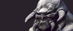 ArtStation - Mean Martian, jim banne #computer #mean #fantasy #generated #cgi #silver #design #texture #horns #art #monster #face