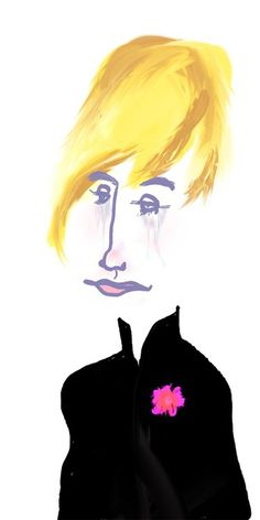 Gyász #mourning #cry #black #drawing #illustration #pink #flower #character