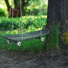 Skateboard Turned Into Swings #interior design #decoration #decor #deco #skateboard #swing