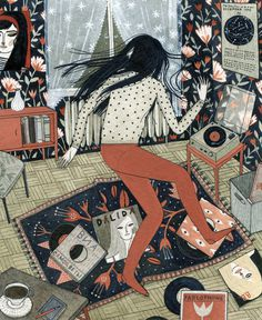 dance party for one yelena bryksenkova #music #illustration #dance #room