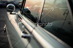 Old American Car at Sunset and Reflections Royalty Free Stock Photo