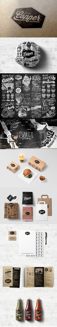 Brand Identity for Copper Restaurant. Alexramonmas Studio Design