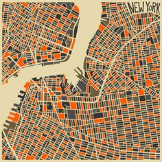 Modern Abstract City Maps #city #illustrative #geometric #map #illustration #nyc