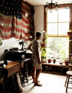 Collin Hughes #interior #flag #american #photography #portrait #studio #man #light