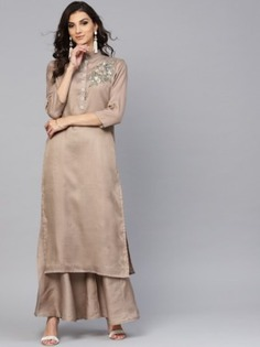 Beige Thread Embroidered Palazzo Suit - Inddus.