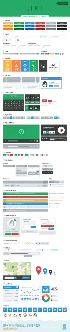 Lil UI Kit – PSD Vector UI Library
