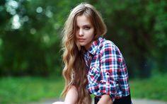 Beauty Bokeh Girl in Checkered Shirt