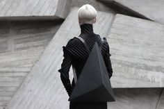 Leather Accessories by Konstantin Kofta #leather #bag #facet #black #futuristic