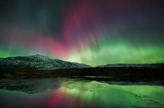 500px / Photo #mountain #sky #aurora #snow #colors #arctic #winter