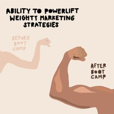 Illustrations—muscle, powerlifting, advertising exercise | 2016 Advertising Boot Camp from McKee Wallwork + Co. | Brittany Byrne