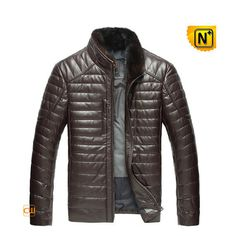 Mens Fur Trimmed Down Quilted Jacket CW860035 #jacket #down #leather