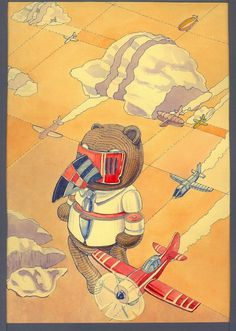 red ink on paper #flight #sky #fly #drawn #poster #bear #watercolor #hand #toy