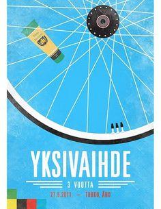 YKSIVAIHDE #yksivaihde #years #gear #vuotta #3 #bike #one #poster #finnish