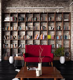 "CJWHO â""¢ (Industrial Loft by Ilija Todorovic Project we...) #red #design #books #interiors #wood #architecture #bookshelf #luxury"