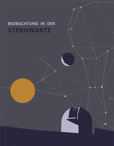 Minimalistic poster for a observatory visit #fhrung #teleskop #astronomie #ternwarte #besuch #planetarium #posters #poster #druck #sterne