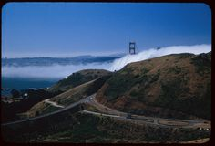 Fog bank moves through Golden Gate. View is southward from Waldo tunnel entrance.