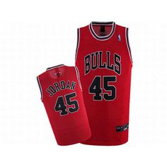 Michael Jordan #45 Red Nike Bulls Jersey Black Number