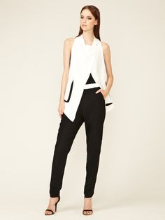 Helmut Lang Silk Wool Gauze Tapered Pant #fashion #suit #white #black
