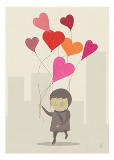 The Love Balloons Print by Judykaufmann on Etsy #heart #happy #judy #balloons #illustration #kaufmann #love
