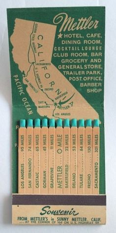 Giant Feature Matchbook Souvenir Mettler by albrechtsantiques #map #vintage #hotel #matchbook #souvenir