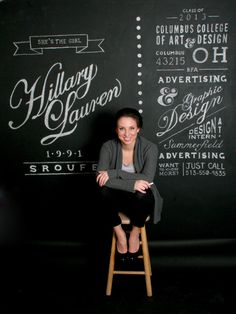 Resume Chalk Wall by Hillary Sroufe #hand lettering #typography #chalk wall #resume