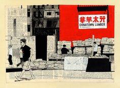 纽约唐人街的木材«埃文Hecox的
