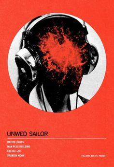 SCOTT CAMPBELL #red #sailor #headphones #unwed #poster #circle