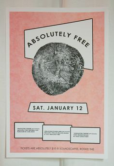 2 colour poster for Absolutely Frees first record release, UFO. January 2013 #pink #posters