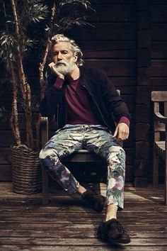 Man in Pink | Flora Pants #fashion #man #beard