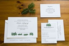 Mt. Mansfield inspired Letterpress Wedding Invitation Suite by Laura Macchia #wedding