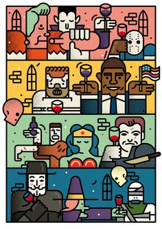 hallowine on Behance #halloween #monsters #illustration #colorful #superheroes #obama