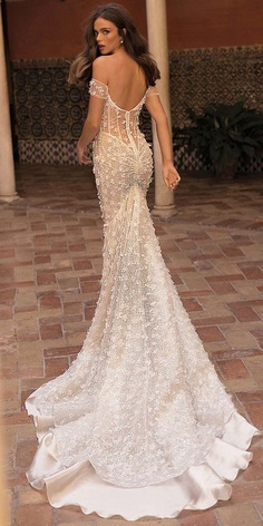 wedding-gown styles trumpet off the shoulder low back floral berta