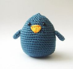 Denim plush fat bird by sabahnur on Etsy #inspiration