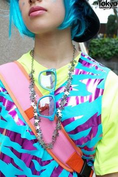 Blue Hair & Matching Galaxxxy Top #fashion #tokyo #harajuku #style
