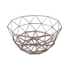 Geometric Wire Metallic Copper Flat Lay Basket/Tray, Set of Two 30cm x 17cm, 26cm x 14cm