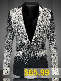 Flap #Pocket #Ombre #Lapel #One-Button #Blazer #- #BLACK
