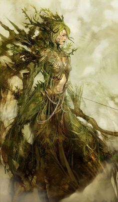 """Melandru"" Guild Wars concept art #fantasy #woman #grass #illustration #nature #magic #character"
