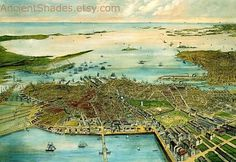 Bird's eye view of Boston RETRO print on cotton by AncientShades #old #boston #city #map #vintage #view #maps #panoramic